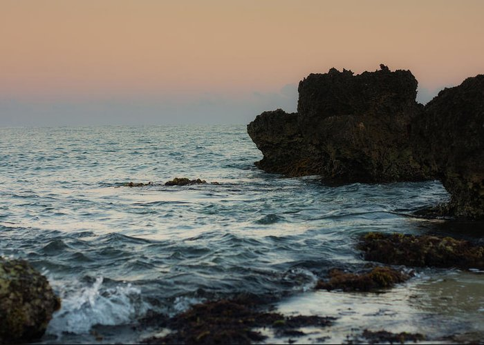 Shoreline Greeting Card featuring the photograph Rocky Shoreline At Sunrise by Eugene Campbell