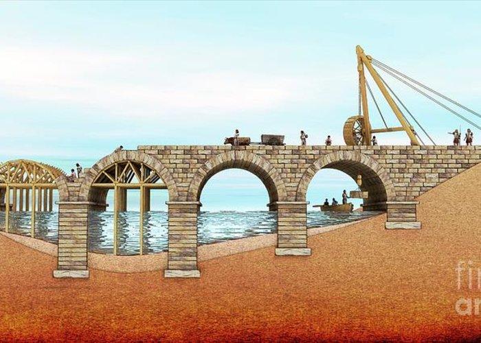 Bridge Greeting Card featuring the photograph Roman Bridge Building by Mikkel Juul Jensen / Science Photo Library