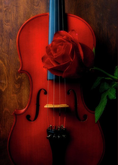 Violin Greeting Card featuring the photograph Romantic Rose With Violin by Garry Gay