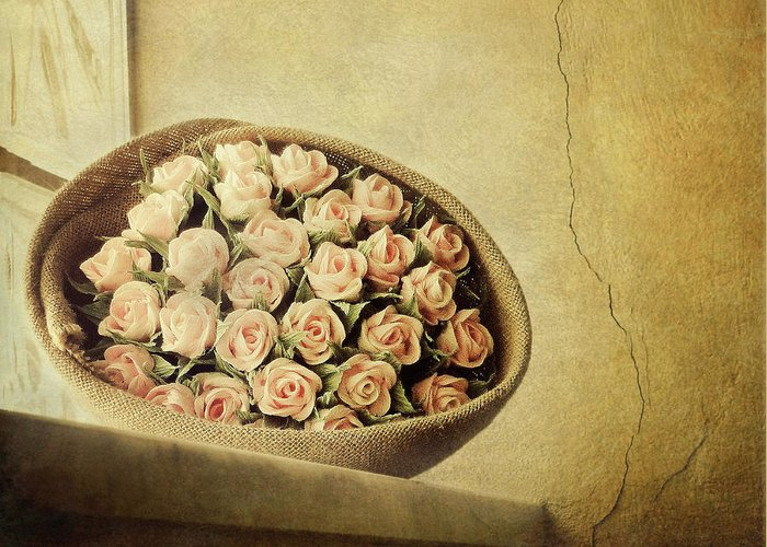 Fragility Greeting Card featuring the photograph Roses On Window by Marco Misuri