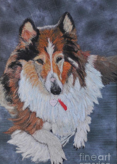 Rough Collie Greeting Card featuring the tapestry - textile rough Collie by Dolores Fegan