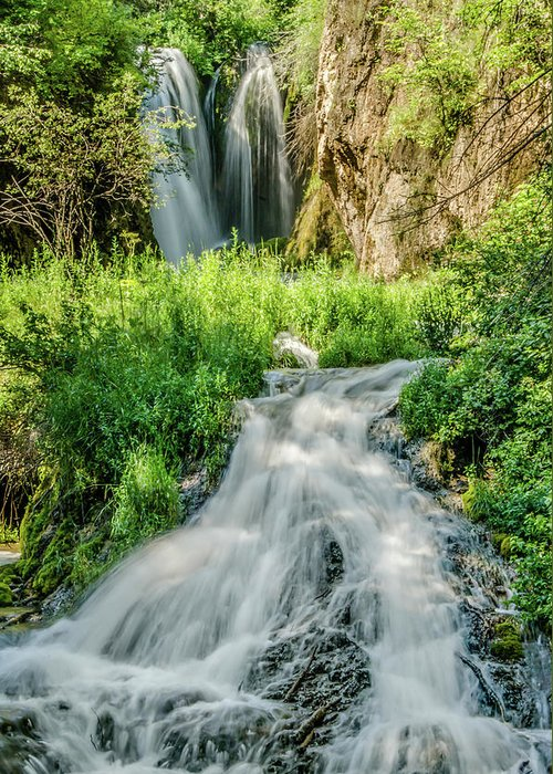 Tranquility Greeting Card featuring the photograph Roughlock Waterfalls In Lead, South by Carl M Christensen