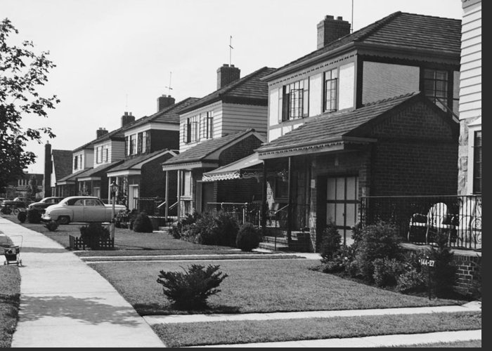 1950-1959 Greeting Card featuring the photograph Row Of Houses by George Marks