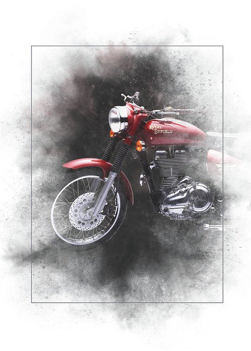 Royal Enfield Greeting Card featuring the mixed media Royal Enfield Bullet Electra Efi Painting by Smart Aviation