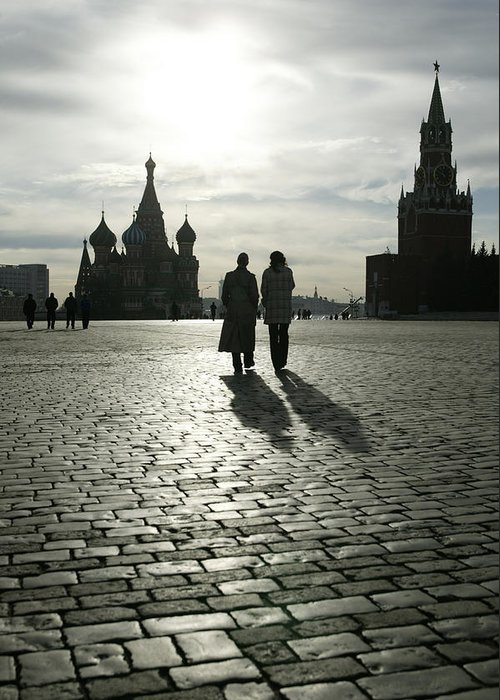 Shadow Greeting Card featuring the photograph Russia, Moscow, Red Square, Silhouette by Will & Deni Mcintyre