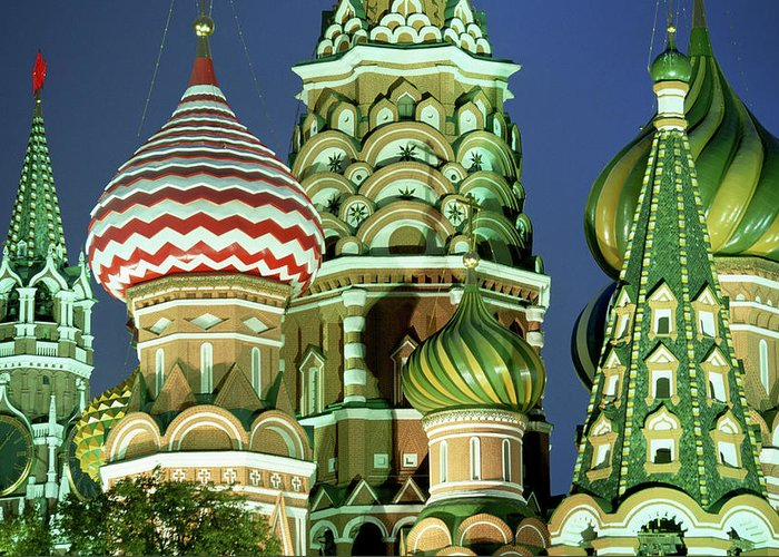Travel14 Greeting Card featuring the photograph Russia, Moscow, Red Square, St Basils by Peter Adams
