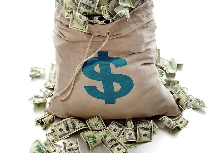 White Background Greeting Card featuring the photograph Sack Of Cash by John Kuczala