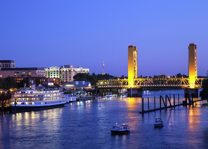 Scenics Greeting Card featuring the photograph Sacramento River And Tower Bridge At by Picturelake