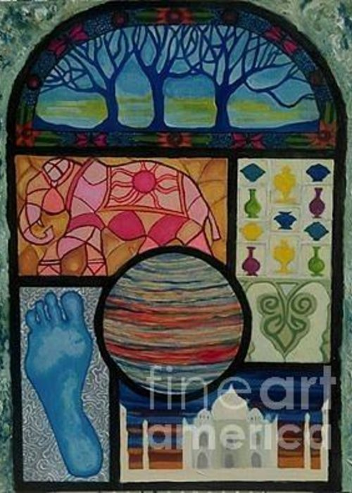 Stained Glass Greeting Card featuring the painting Sacred Universe by Caroline Cunningham