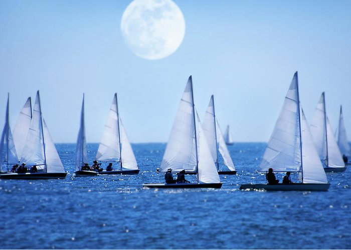 Scenics Greeting Card featuring the photograph Sailboat Race With Moonrise, Cape Cod by Grant Faint