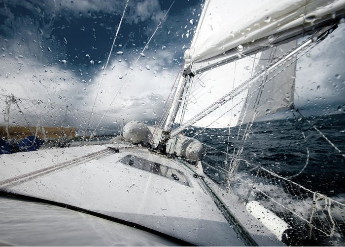 Wind Greeting Card featuring the photograph Sailing In The North Sea During A Storm by Sindre Ellingsen