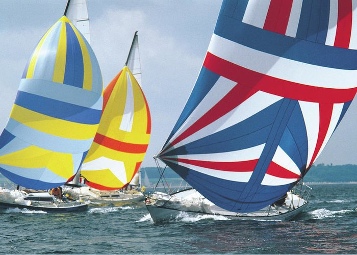Wind Greeting Card featuring the photograph Sailing Race by John Foxx