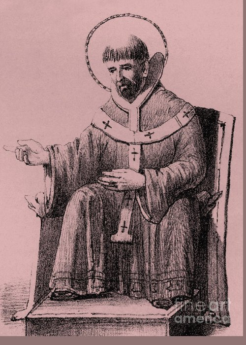 Saint Augustine Greeting Card featuring the drawing Saint Augustine 354-430, Bishop Of Hippo, by English School