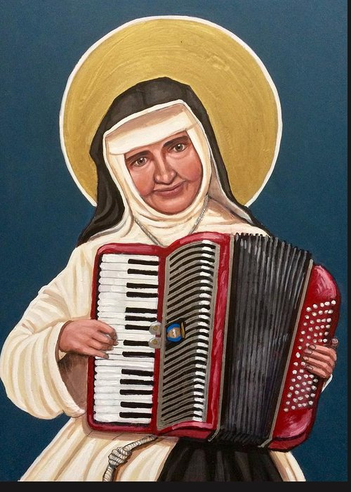 Greeting Card featuring the painting Saint Dulce of the Poor by Kelly Latimore