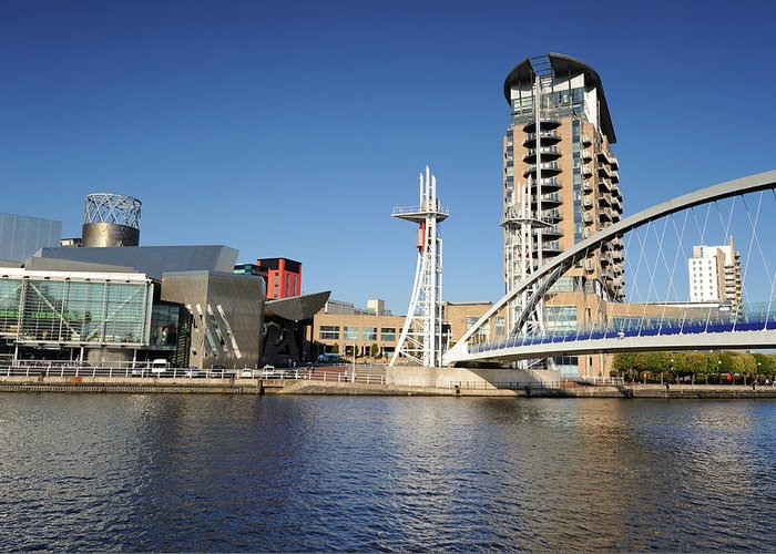 London Millennium Footbridge Greeting Card featuring the photograph Salford Quays, Manchester by Chrishepburn