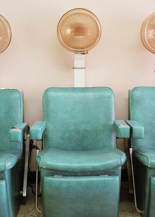 In A Row Greeting Card featuring the photograph Salon Hair Dryers by Lisa Romerein