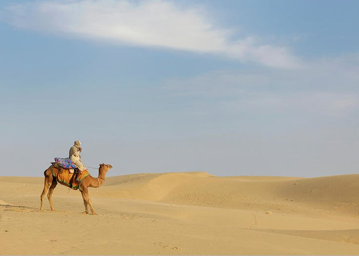 Tranquility Greeting Card featuring the photograph Sam Sand Dunes Near Jaisalmer, Rajasthan by Cultura Rm Exclusive/karen Fox