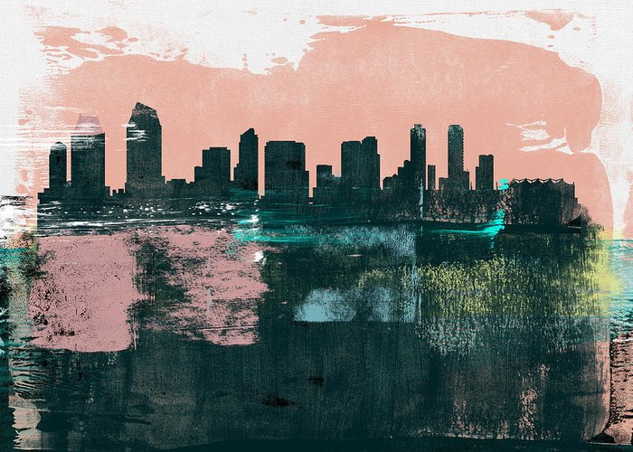 San Diego Greeting Card featuring the mixed media San Diego Abstract Skyline I by Naxart Studio