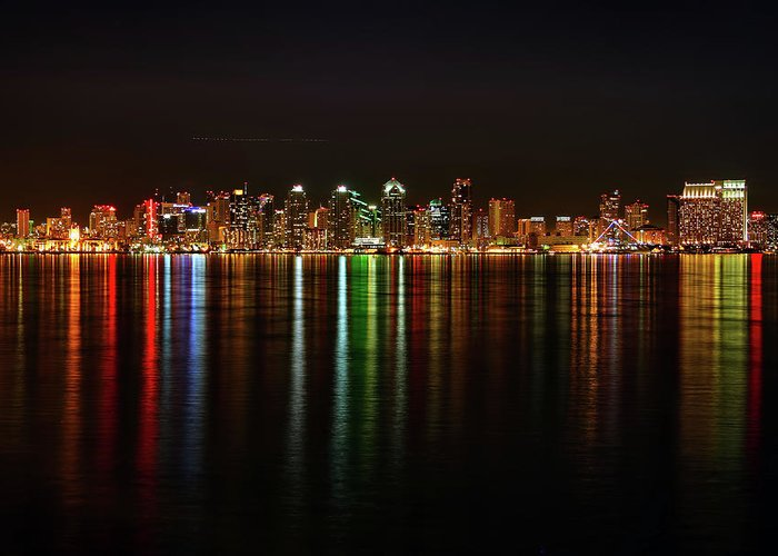 California Greeting Card featuring the photograph San Diego Skyline From Harbor Island by David Toussaint