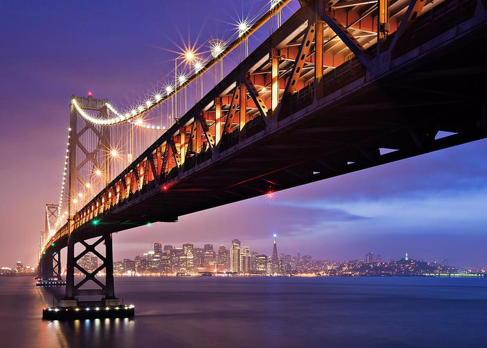 Tranquility Greeting Card featuring the photograph San Francisco Bay Bridge by Photo By Mike Shaw