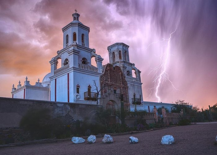 Tucson Greeting Card featuring the photograph San Xavier Mission Lightning by Chance Kafka