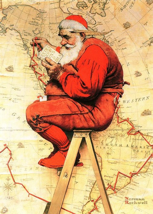 Christmas Greeting Card featuring the drawing Santa At The Map by Norman Rockwell