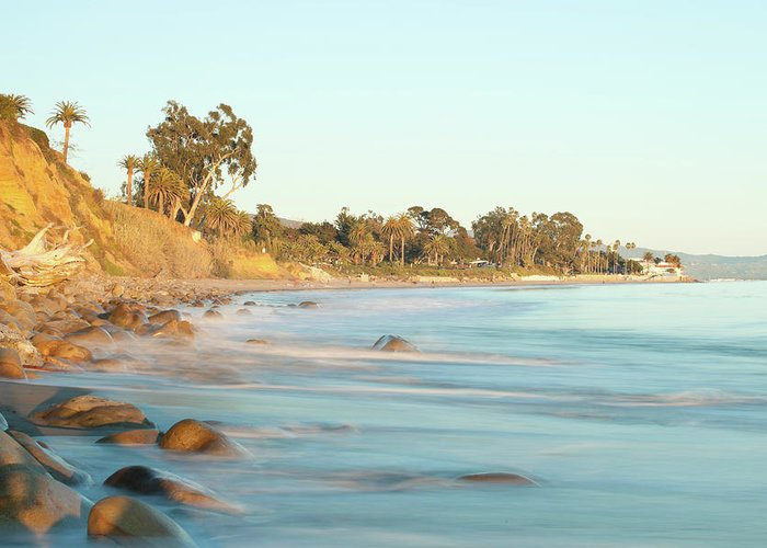Water's Edge Greeting Card featuring the photograph Santa Barbara by Andrewhelwich