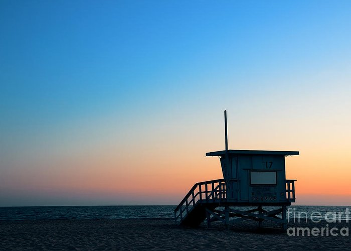 Sunrise Greeting Card featuring the photograph Santa Monica Beach Safeguard Tower At by Songquan Deng