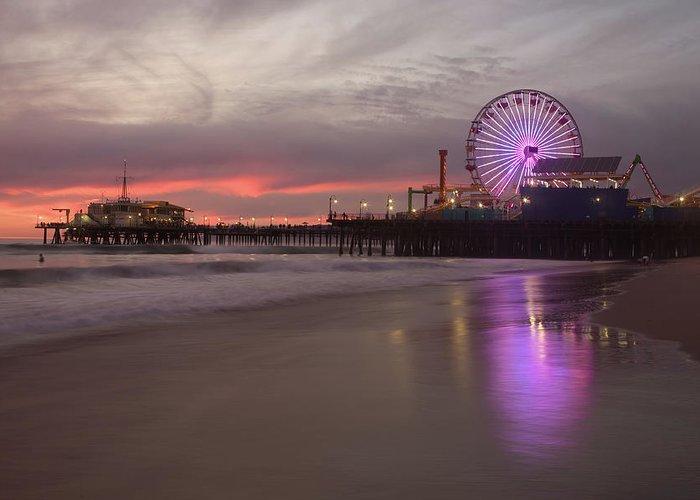 California Greeting Card featuring the photograph Santa Monica Pier by Skyhobo