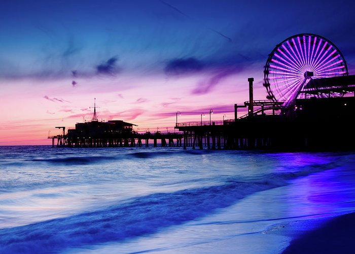 Commercial Dock Greeting Card featuring the photograph Santa Monica Pier With Ferris Wheel by Pawel.gaul