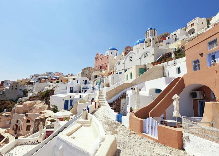 Steps Greeting Card featuring the photograph Santorini, Churches And Houses by Richmatts