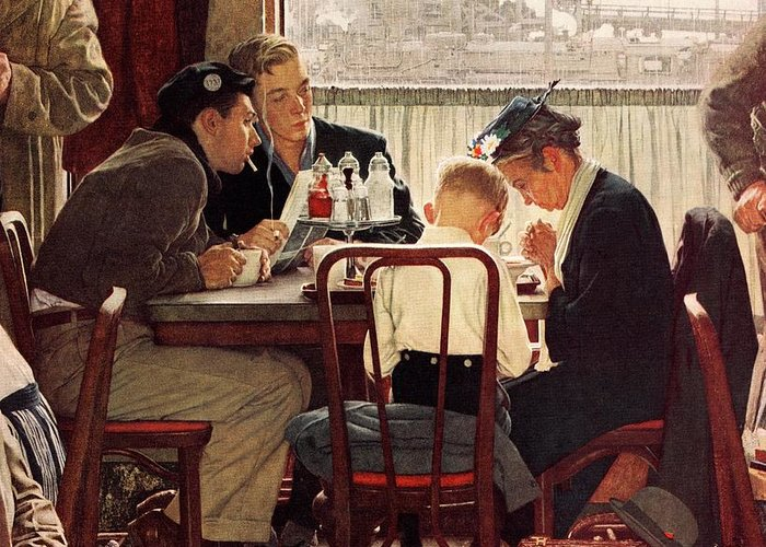 Eating Greeting Card featuring the drawing Saying Grace by Norman Rockwell
