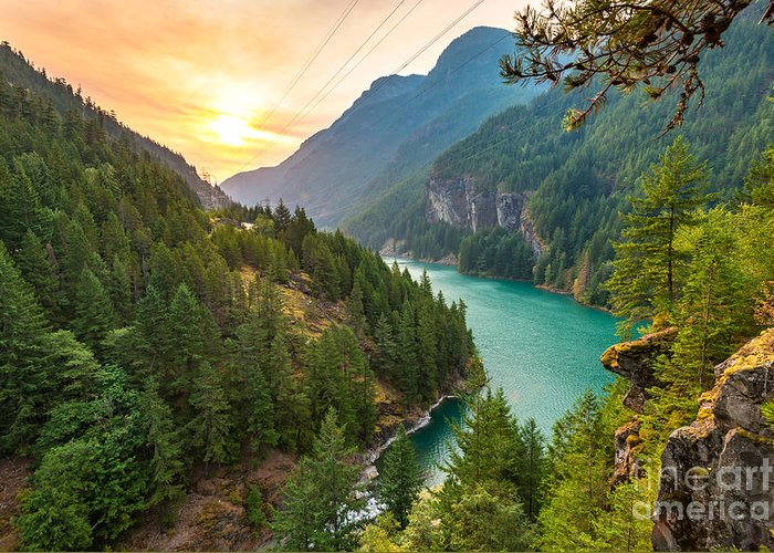 Country Greeting Card featuring the photograph Scene Over Diablo Lake When Sunrise by Checubus