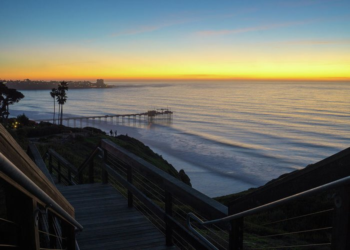 Surf Greeting Card featuring the photograph Scripps Sunset Stairway 3 by Richard A Brown