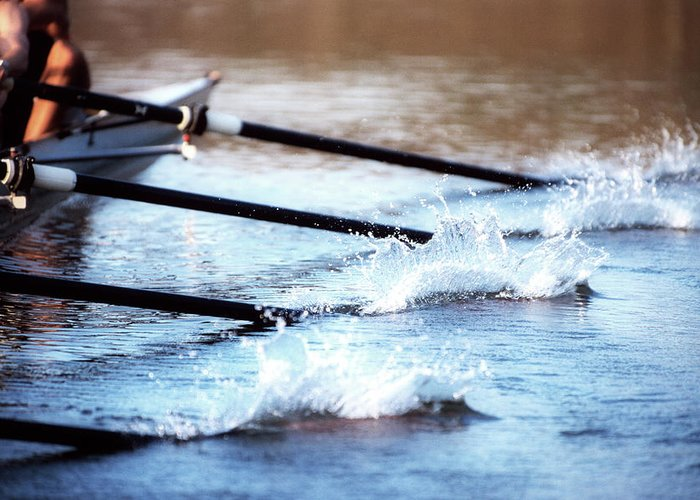 Sport Rowing Greeting Card featuring the photograph Sculling Team Rowing On Water by Robert Llewellyn
