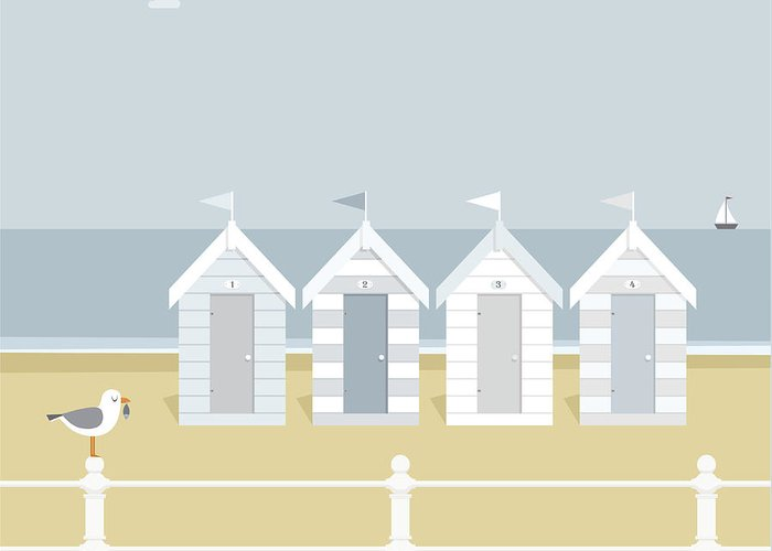 Scenics Greeting Card featuring the digital art Seagull Waiting On The Beach Goers To by Myillo