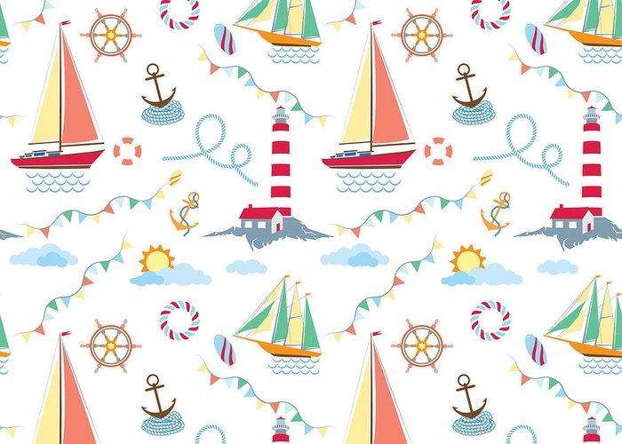 Lifebuoy Greeting Card featuring the digital art Seamless Marine Pattern With Ships by Julia kondakov