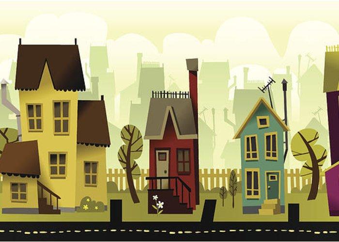 Grass Greeting Card featuring the digital art Seamless Neighborhood by Doodlemachine