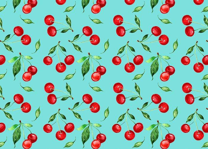 Hand Made Greeting Card featuring the digital art Seamless Pattern Of Cherry -1 by Chekmareva Irina