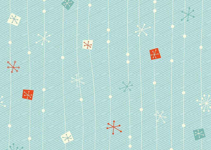 Pattern Greeting Card featuring the digital art Seamless Vintage Winter Pattern by Orangeberry