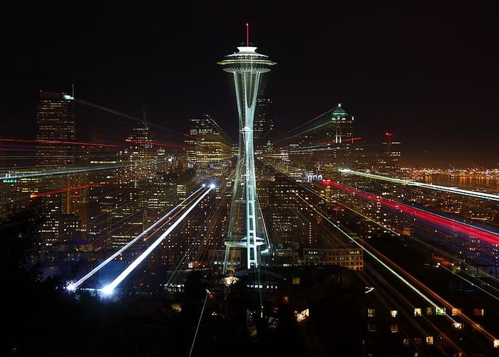 Laser Greeting Card featuring the photograph Seattle Skyline Laser Show by Jonkman Photography