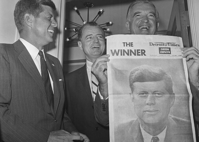 People Greeting Card featuring the photograph Senators John F. Kennedy And Stuart by Bettmann