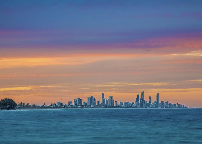 Gold Coast Skyline Greeting Card featuring the photograph Serene And Magical by Az Jackson