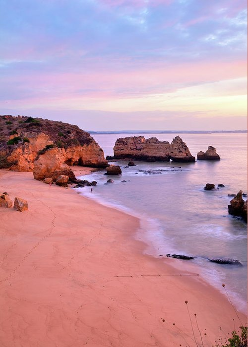 Algarve Greeting Card featuring the photograph Serene Pastel Shores by M Swiet Productions