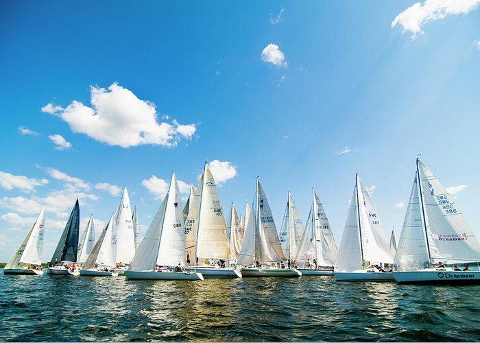 Sailboat Greeting Card featuring the photograph Several Sailboats by Helena Wahlman