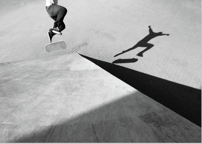 Shadow Greeting Card featuring the photograph Shadow Of Skateboarder by Mgs