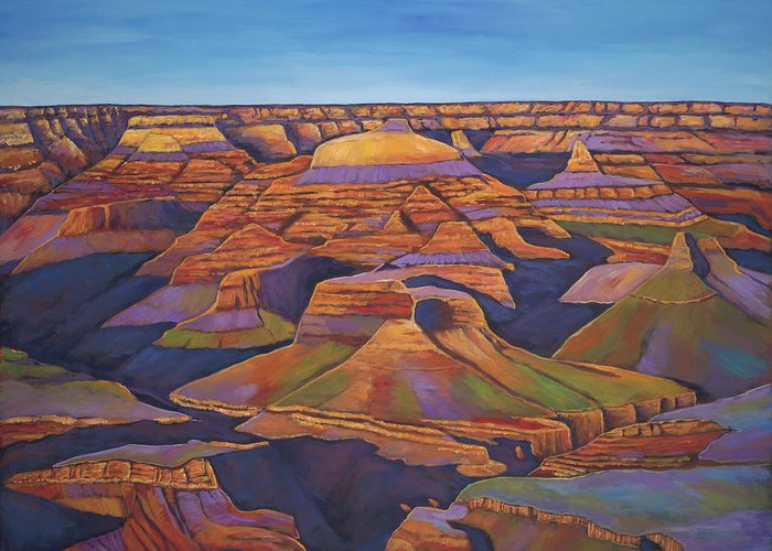 Grand Canyon Greeting Card featuring the painting Shadows and Breezes by Johnathan Harris