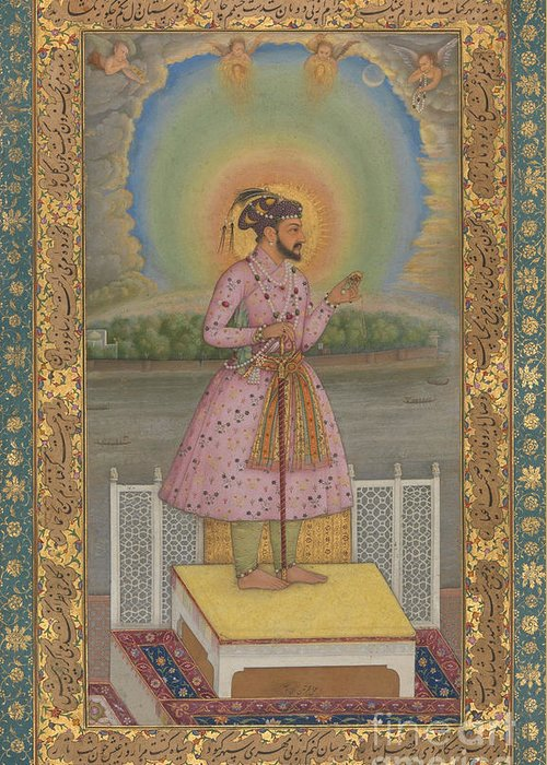 Indian Greeting Card featuring the painting Shah Jahan On A Terrace by Chitarman