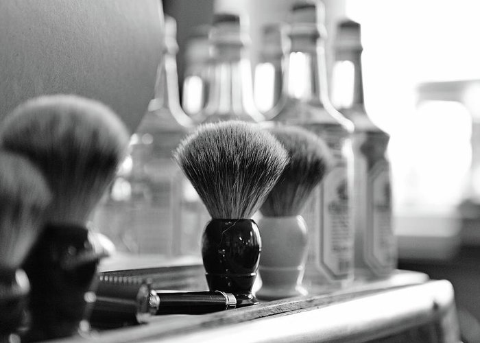 Office Greeting Card featuring the photograph Shaving Brushes At Barbershop by Lorado