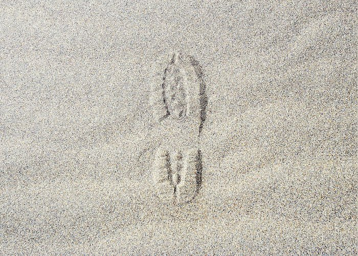 California Greeting Card featuring the photograph Shoe Print In Sand by Thomas Northcut